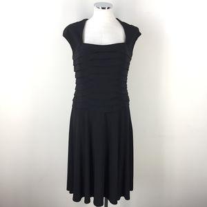 Ralph Lauren M 8 Black Fit Flare dress Cap Sleeve
